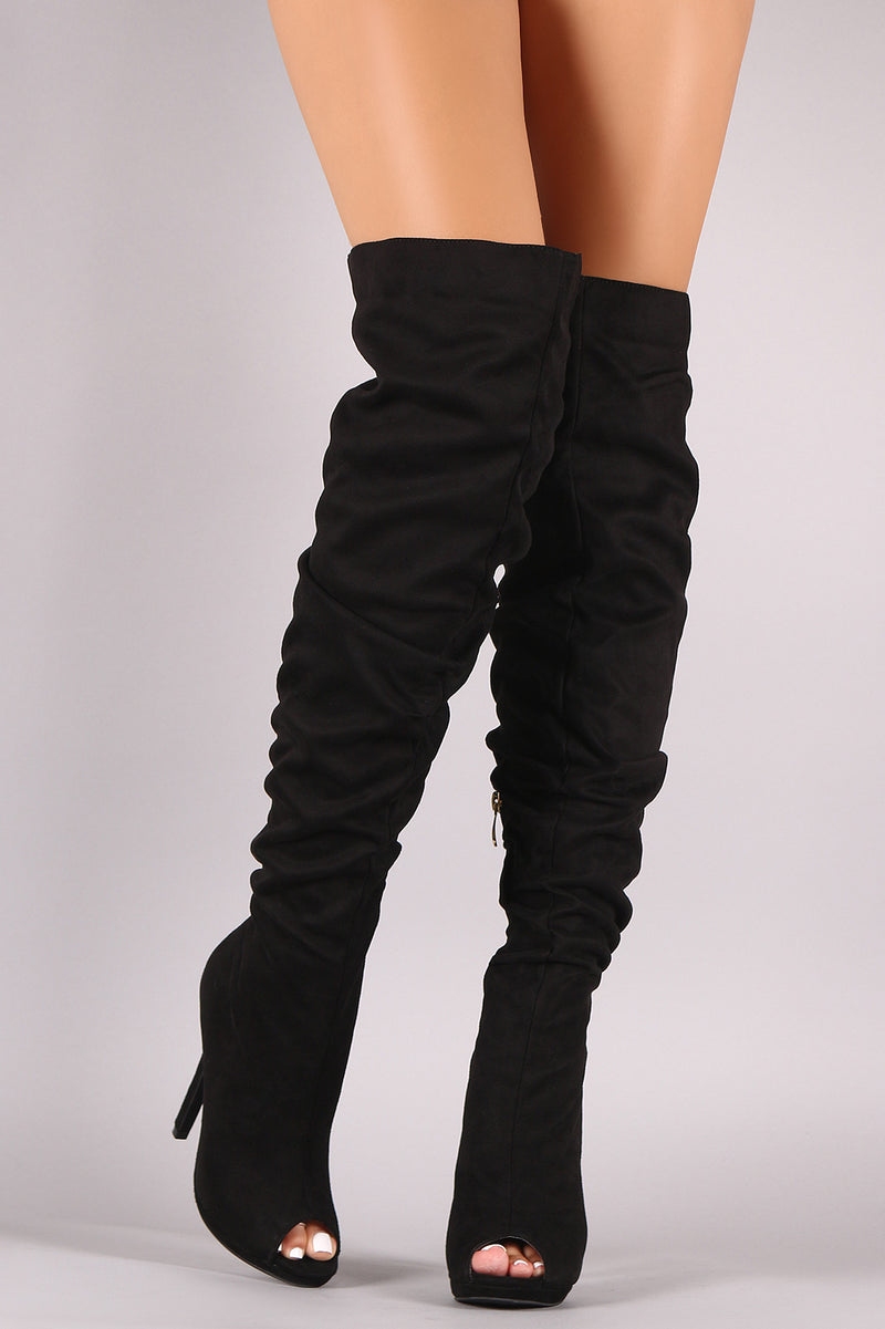Liliana Slouchy Suede Peep Toe Stiletto Over-The-Knee Boots