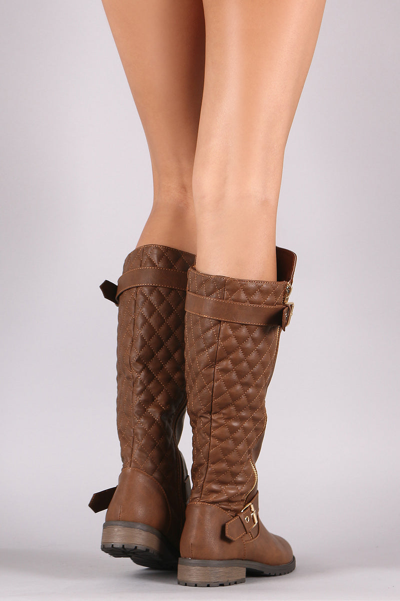 Quilted Zipper Buckle Knee High Riding Boots