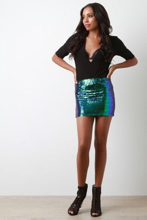 Iridescent Sequin Mini Skirt