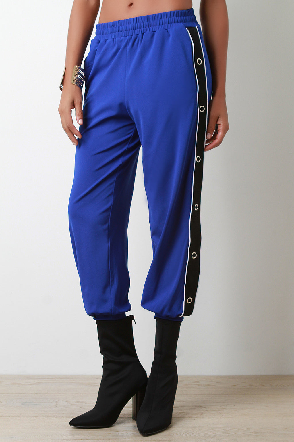 Side Snap Button Striped High Waisted Jogger Pants
