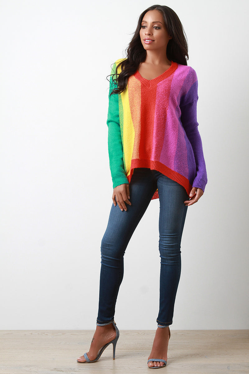 Colorful Vertical Stripe High Low Sweater Top.