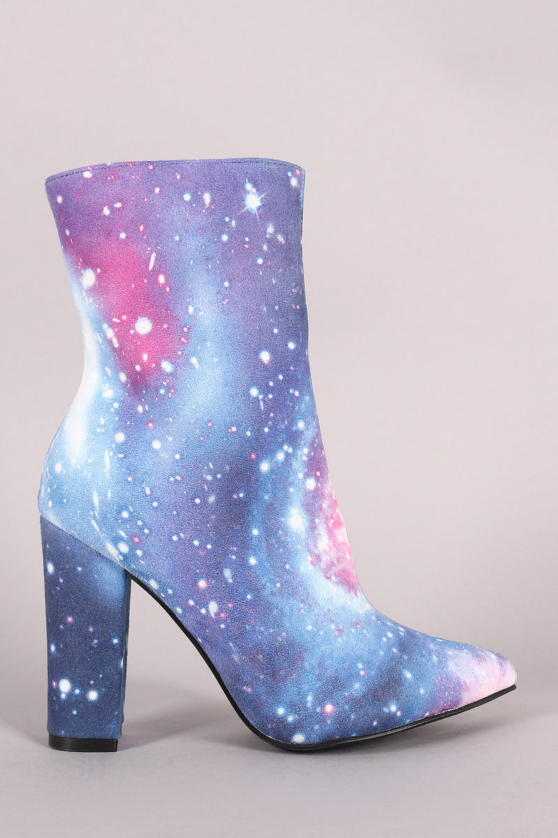 Galaxy Print Pointy Toe Chunky Heeled Ankle Boots