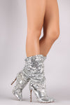 Liliana Sequin Embellished Slouchy Pointy Toe Stiletto Boots