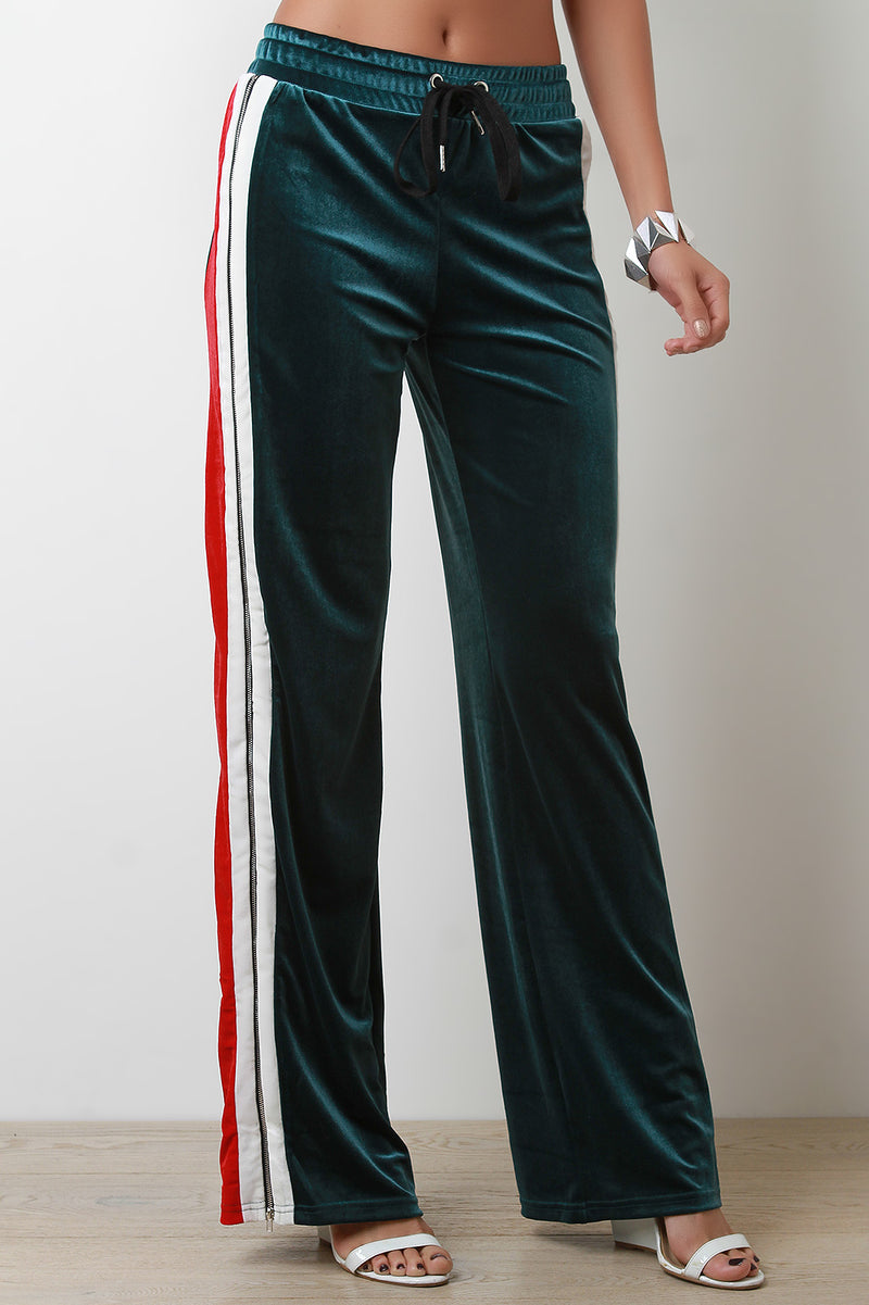 Velvet Side Zipper Striped High Waisted Track Pants