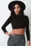 Ribbed Knit Turtleneck Ruffled Trim Crop Top