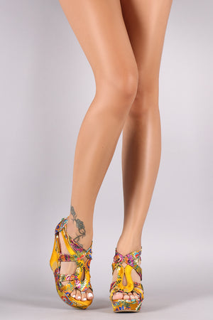 Strappy Floral Brocade Wedge Heel