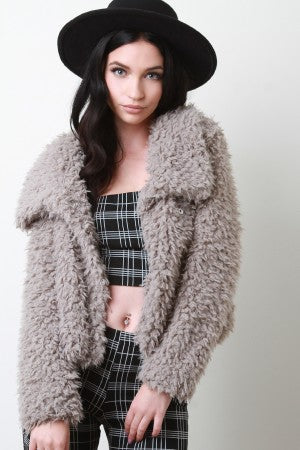 Shaggy Faux Shearling Button Up Jacket