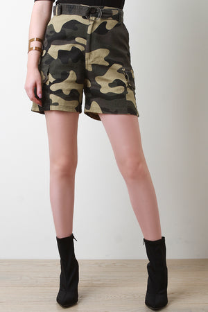 High Waisted Belted Camouflage Cargo Shorts