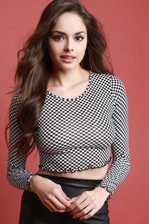 Checker Long Sleeve Crop Top.