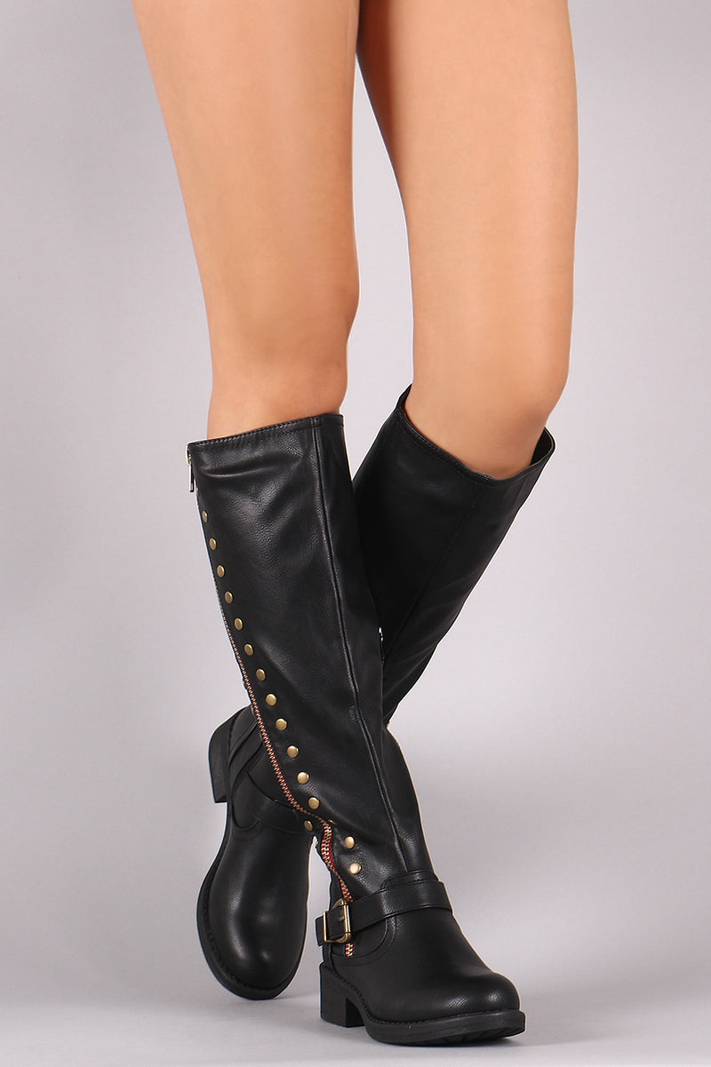 Studs And Zipper Trim Riding Knee High Boots