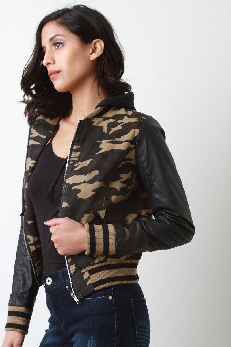 Vegan Leather Camouflage Hooded Jacket