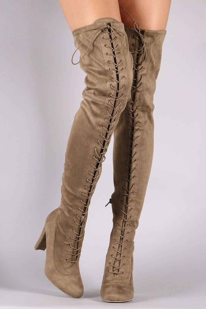 Suede Almond Toe Chunky Heeled Lace-Up OTK Boots