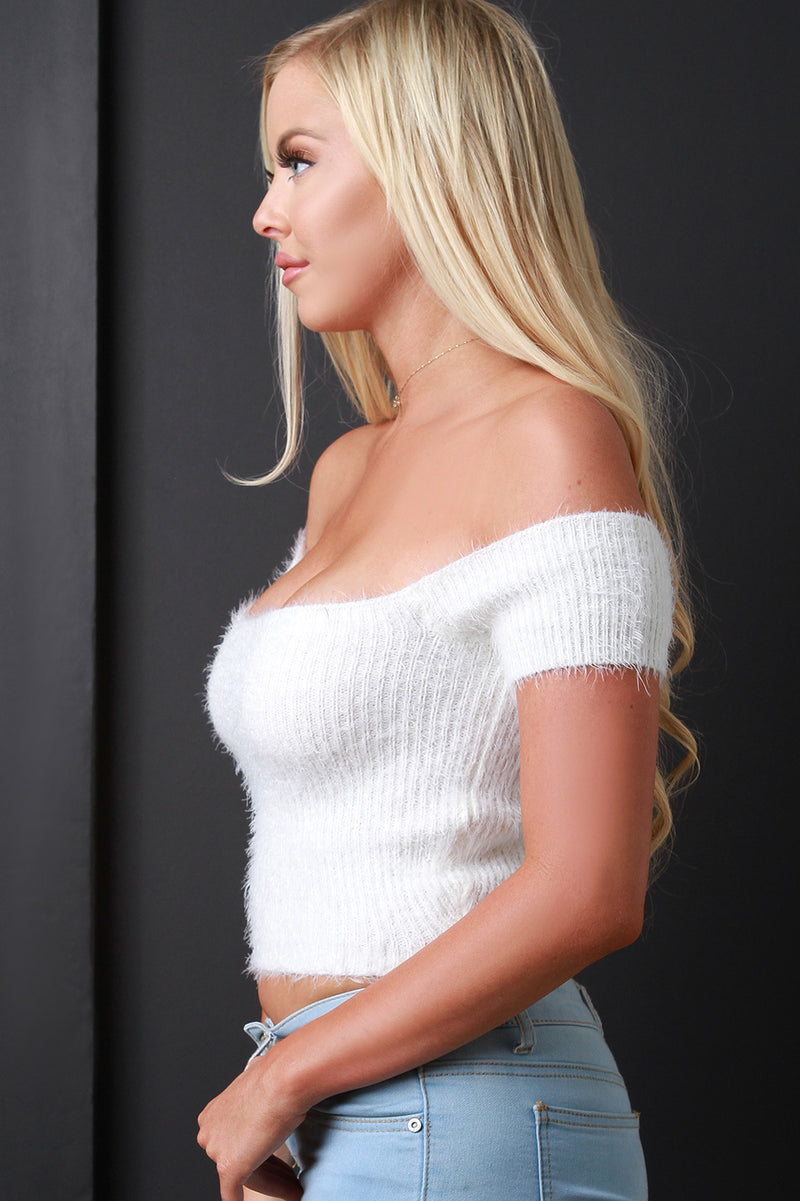Bardot Fuzzy Chenille Sweater Crop Top.