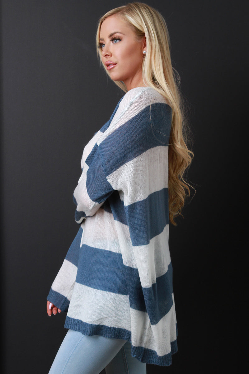 Wide Stripe Knit Boxy Sweater Top