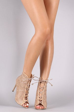 Rhinestone Lace-Up Peep Toe Stiletto Booties