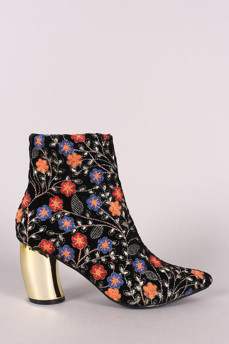 Embroidered Floral Banana Heeled Booties