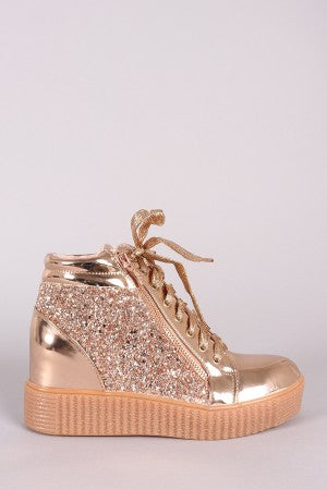 Mirror Metallic Lace Up Creeper Flatform Wedge Sneaker