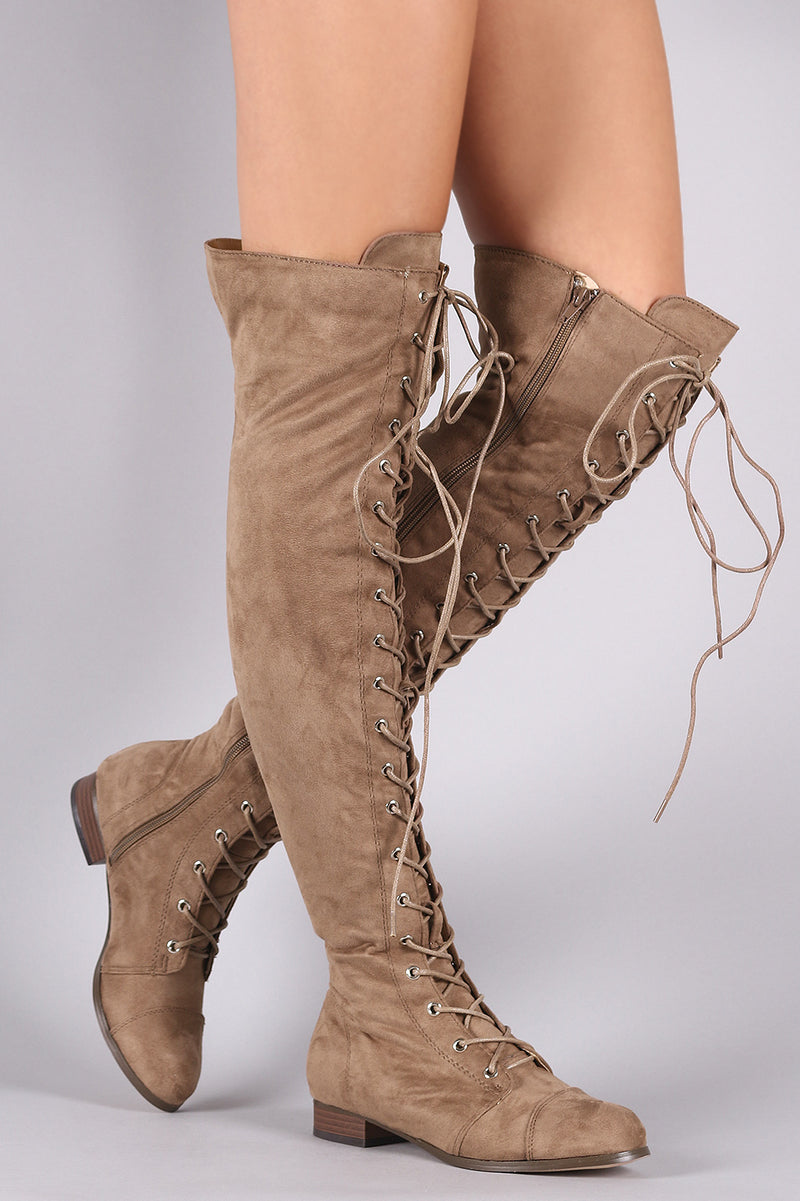 Suede Almond Toe Lace Up Combat Over-The-Knee Boots