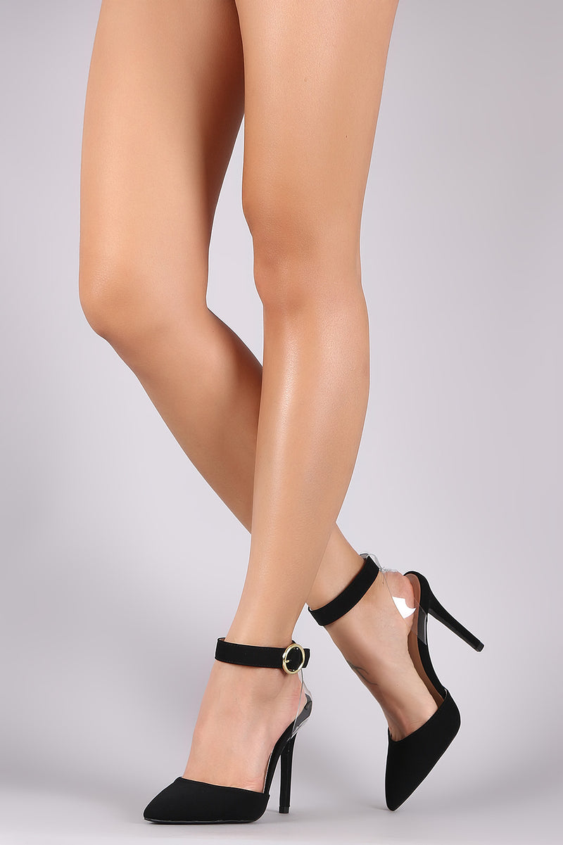 Qupid Nubuck Pointy Toe Ankle Strap Stiletto Pump