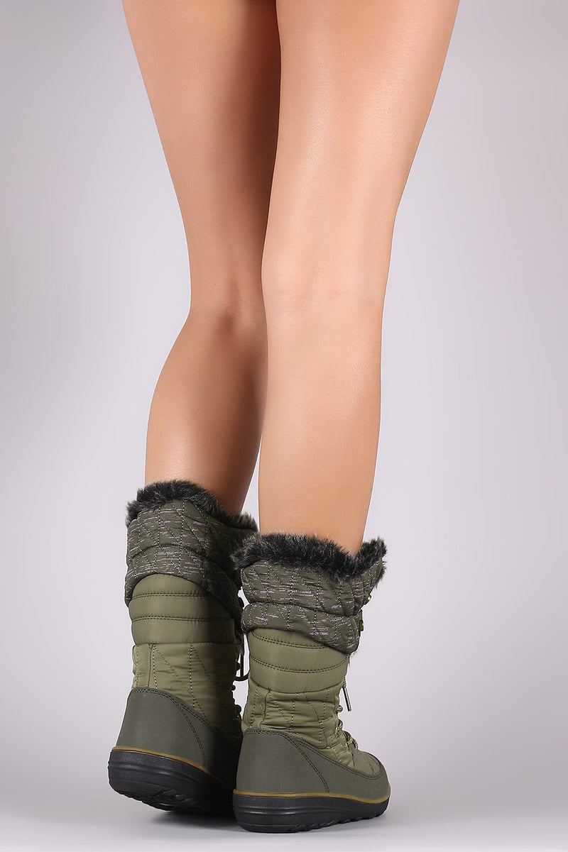 Quilted Nylon Faux Fur Cuff Lace Up Mid Calf Snow Boots