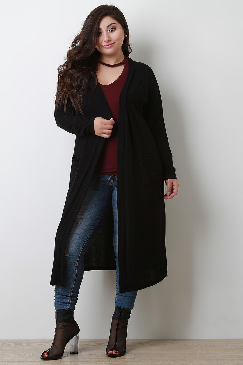 Ribbed Knit Open Front Longline Cardigan
