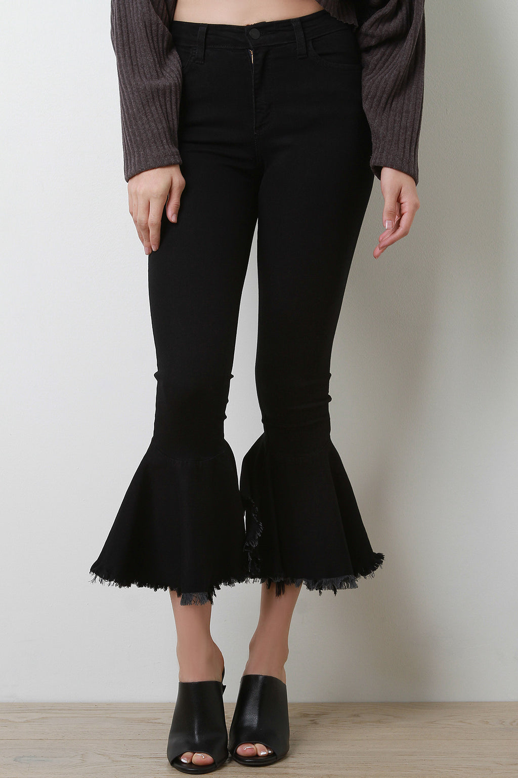 High Rise Ruffled Denim Jeans