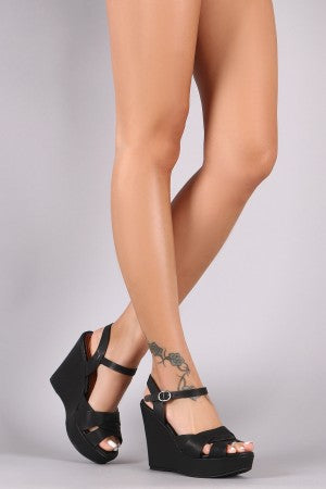 Bamboo Triple Intertwine Strap Ankle Strap Platform Wedge.
