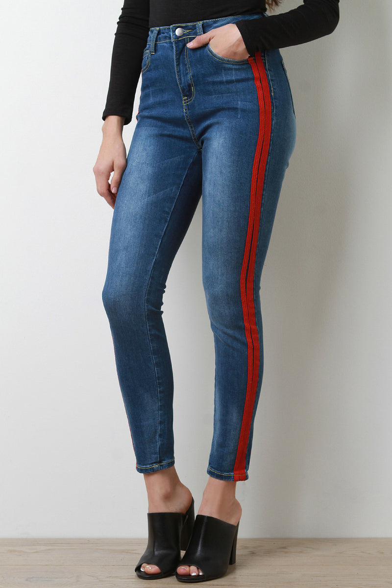 Ribbon Striped High Waisted Skinny Denim Jeans