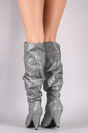 Slouchy Glitter Grid Pointy Toe Cone Heel Knee High Boots