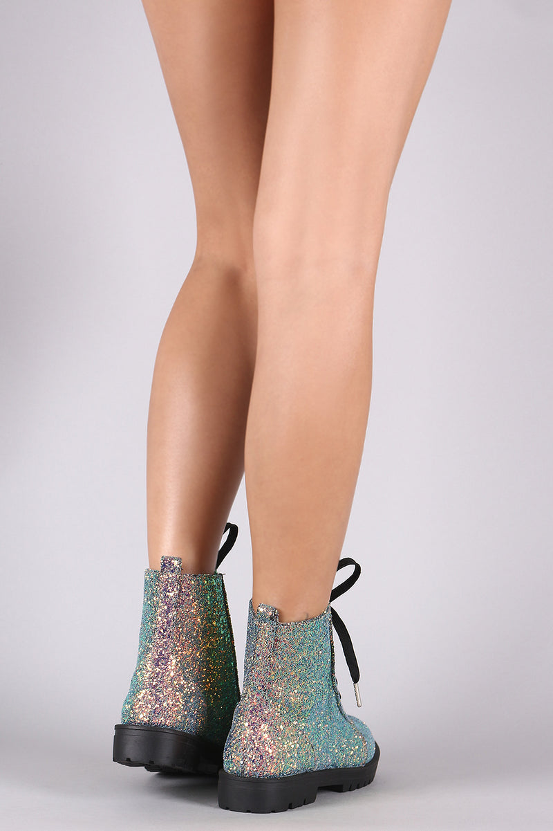 Encrusted Iridescent Glitter Lace Up Combat Booties