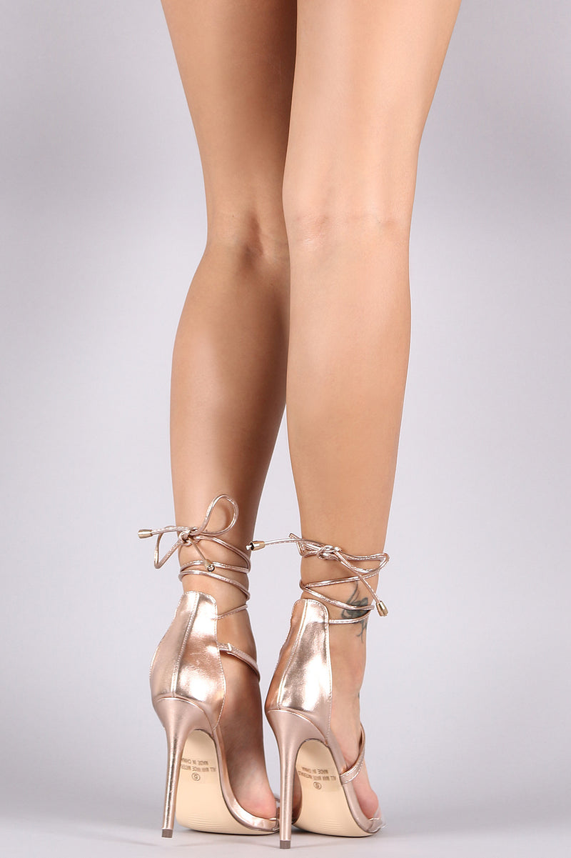 Liliana Metallic Leather Lace-Up Clear Band Open Toe Heel