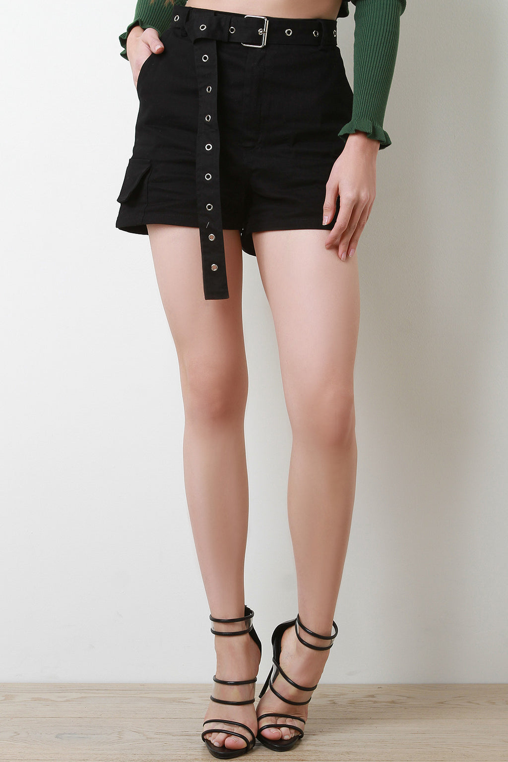 High Waisted Eyelet Belted Cargo Shorts