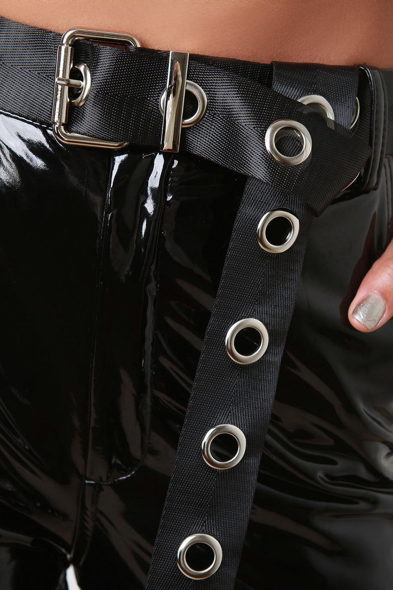 High Waisted Latex Eyelet Belted Pants