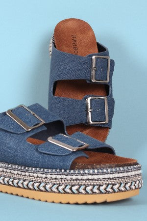 Bamboo Denim Double Buckle Weave Beaded Flatform Sandals