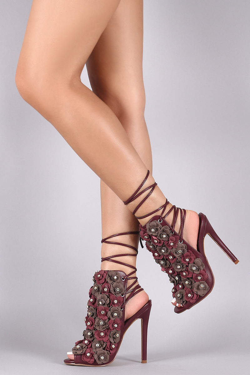 Floral Applique Back Lace-Up Stiletto Mule Heel