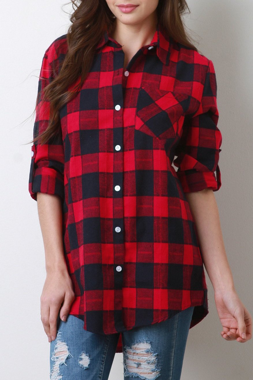 Lumberjack Button Cuff Sleeves Flannel