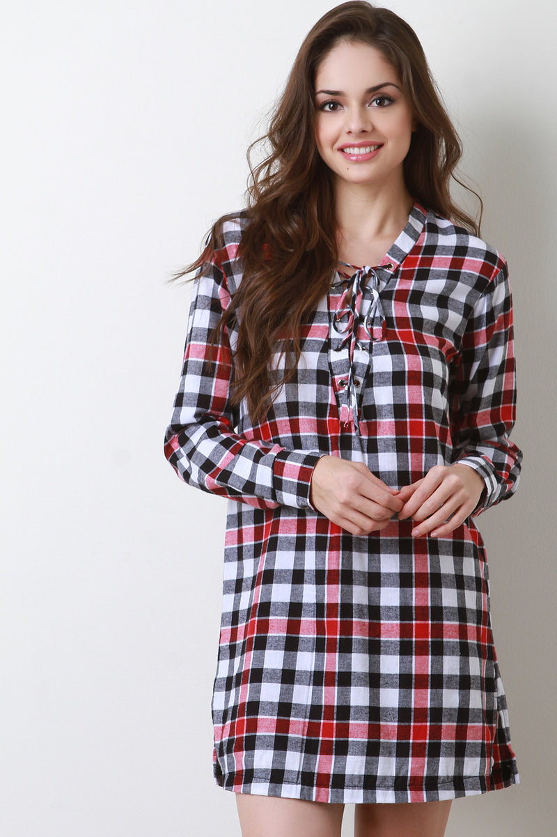 Checker Plaid Lace-Up Shift Dress