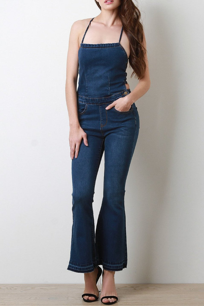 Lace-Up Back Flare Denim Overalls
