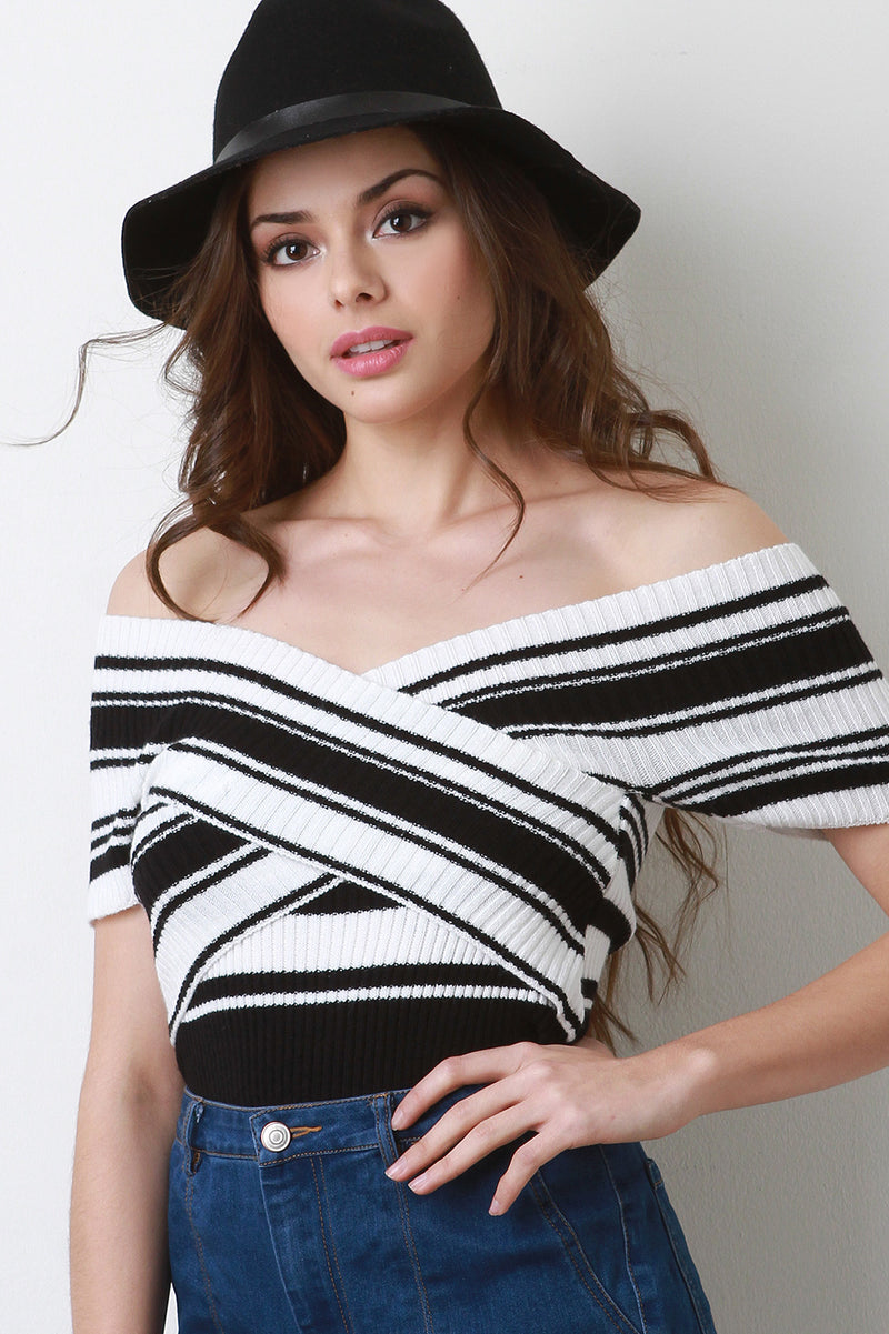 Crisscross Off The Shoulder Knit Top