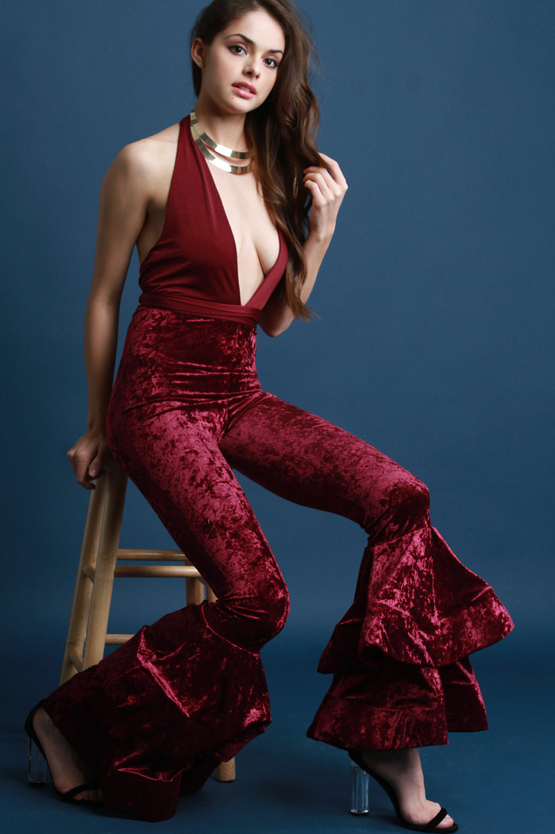 Velvet Deep V Halter Tiered Bell Bottom Jumpsuit