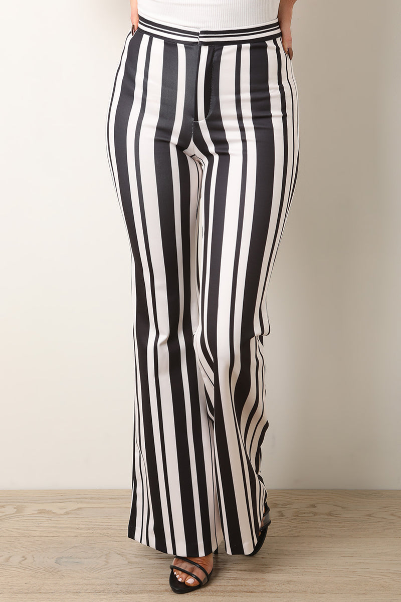 Multicolor Stripe Print High Rise Bell Bottom Pants