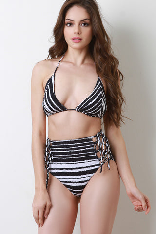 Colorful Striped Two Piece Bikini Set