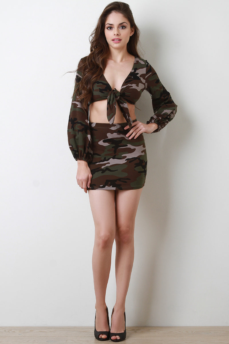 Camouflage Front Tie Long Sleeve Two Piece Dress
