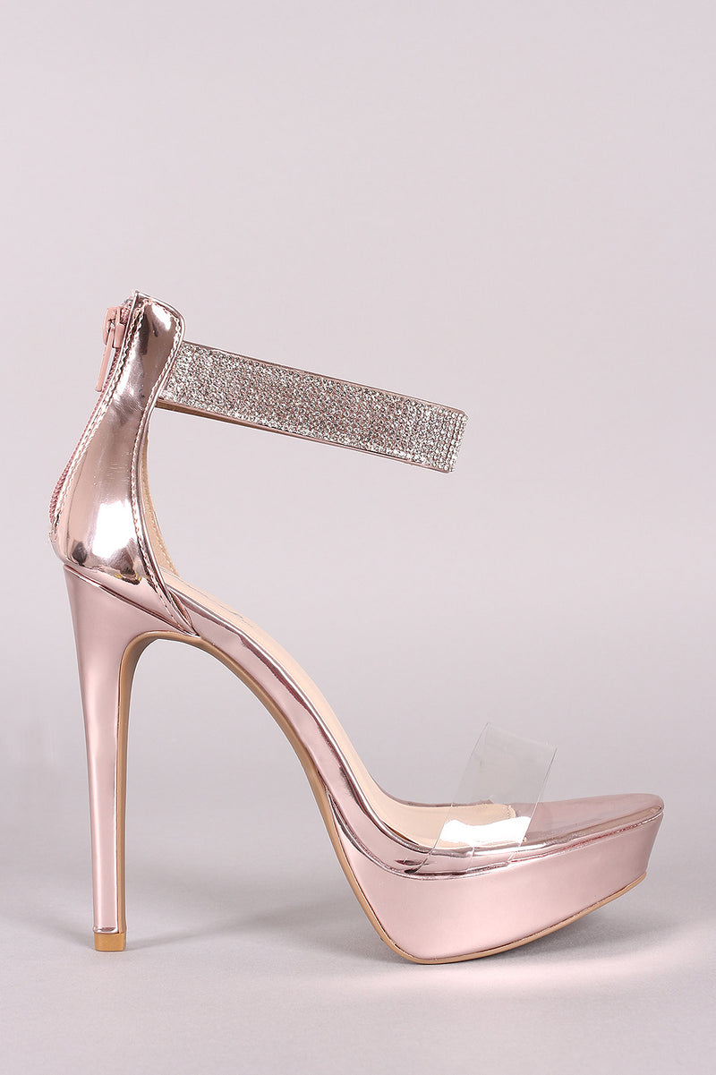 Qupid Shiny Metallic Rhinestone Ankle Strap Stiletto Platform Heel