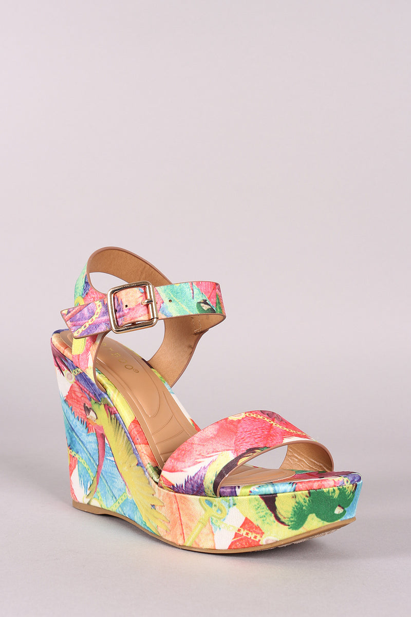 Bamboo Printed Satin Buckle Ankle Strap Platform Wedge.