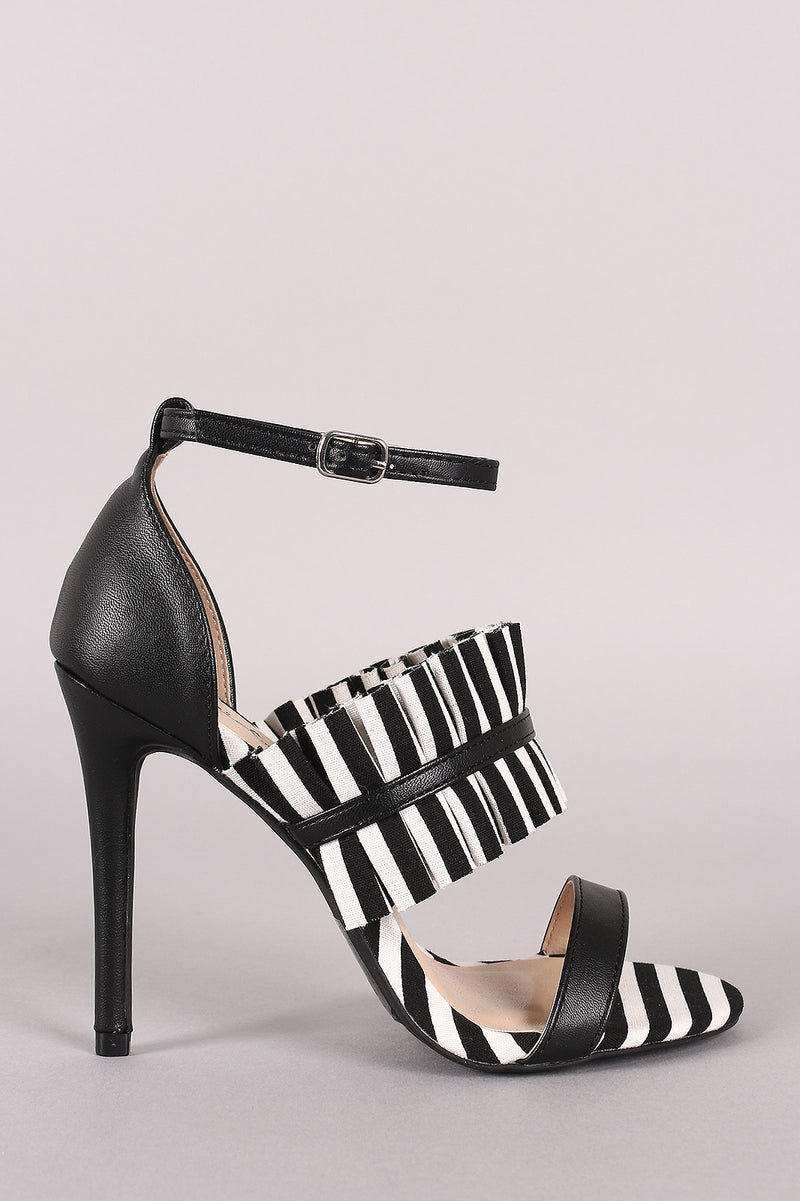 Qupid Stripe Pleated Suede Ankle Strap Stiletto Heel