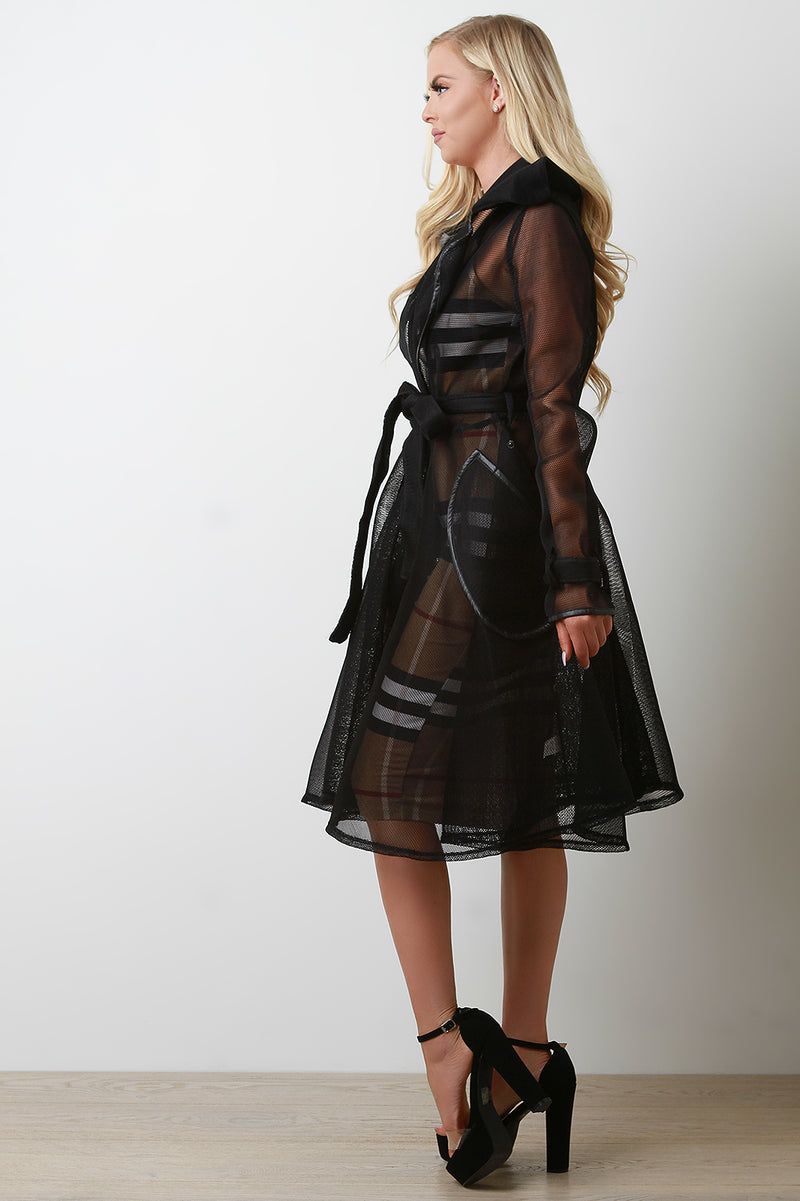 Netted Mesh Trench Coat