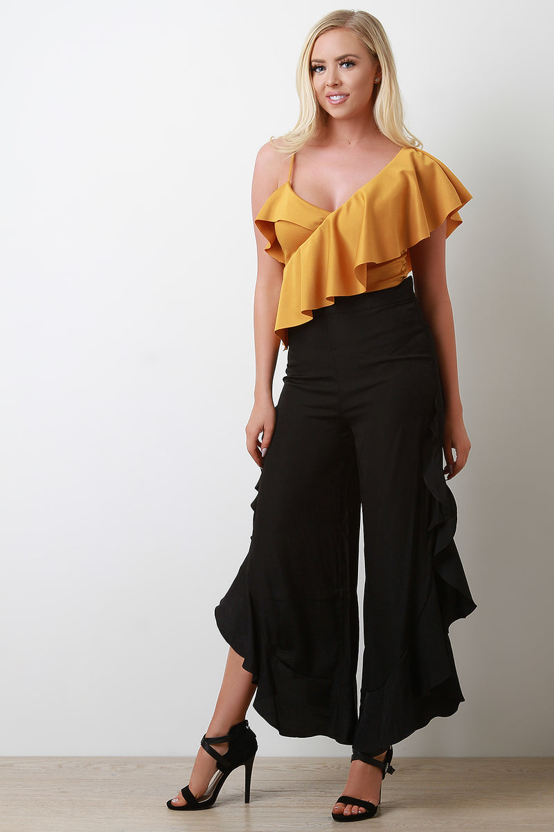 One Ruffled Sleeve Crop Top