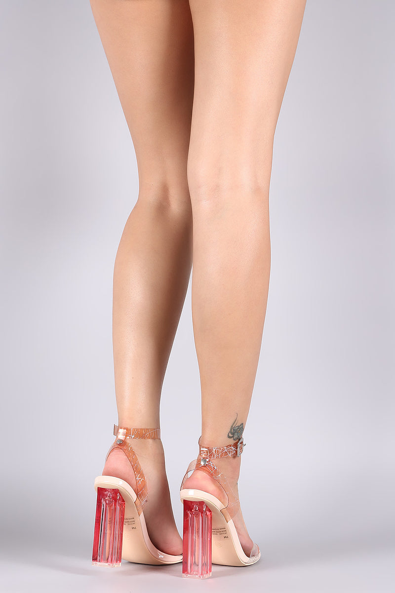 Clear Ankle Strap Open Toe Chunky Heel.