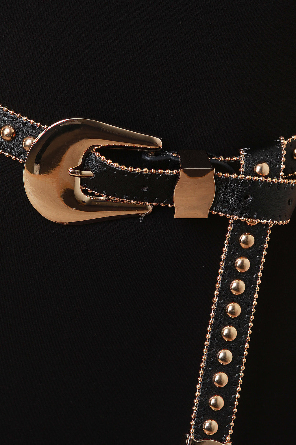 Studded Beaded Trim Vegan Leather Belt